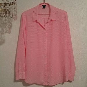 Ann Taylor Button Down Pale Pink & Red Shirt SZ 14